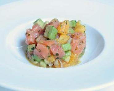 Tartare de saumon, orange, avocat & coriandre