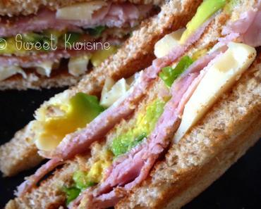 Club sandwich jambon et avocat