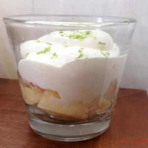 Verrines Pêches Chantilly chocolat blanc Citron Vert