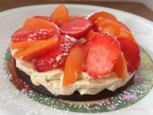 Sablé chocolat Crème Pistache et fruits de Saison