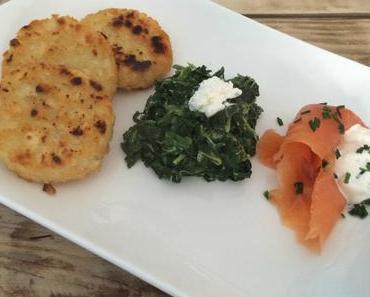 Idée de brunch : saumon fumé crème-ciboulette-citron, rostis & épinards crémeux