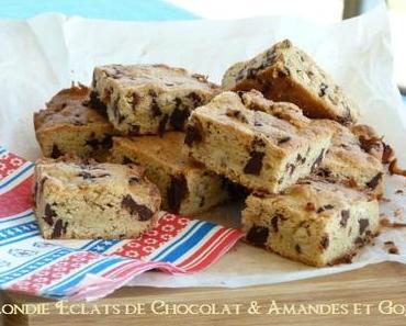 "ღ "" Miam "" Blondie aux éclats de Chocolat - Amande et Baies de Goji"