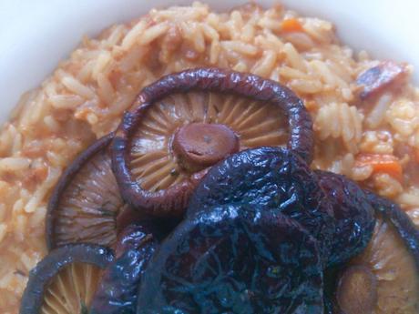 Risotto au champignons shiitakés