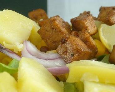 salade composée, pommes de terre, tofu grillé...