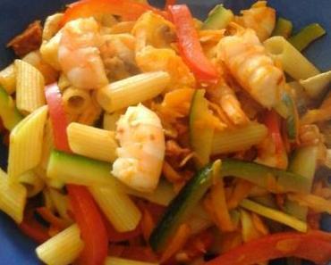 Wok légumes crevettes chorizo