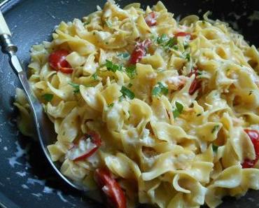 Tagliatelles aux crevettes et au saumon fumé (One pot pasta)