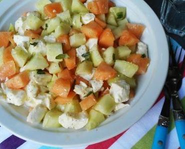 Salade de melon, concombre et mozzarella