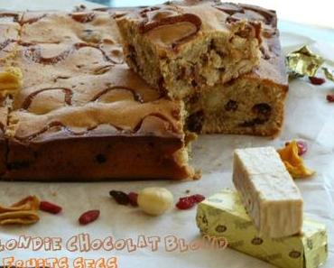 """ღ """" Miam """" Blondie au Chocolat blond et fruits secs"""