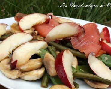 Salade de haricots verts, saumon et nectarines