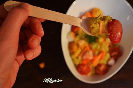 Salade de lentilles corail et crevettes au curry