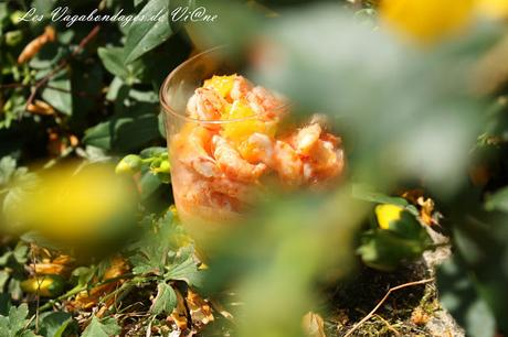 Panna cotta au poivron et salade d' écrevisses à l'orange