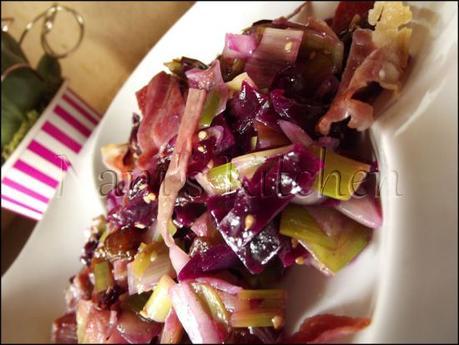 chou rouge  poireaux raisins secs lard (3)