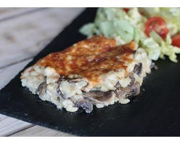 Gratin de coquillettes béchamel & champignons au fromage fumé