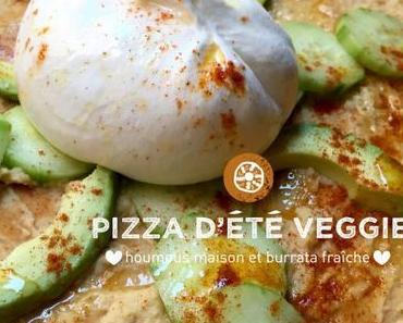 Pizza d'été veggie, houmous maison et burrata fraîche