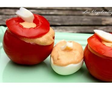 Tomates et oeufs farcis au thon