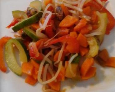 Wok de légumes et cacahuètes