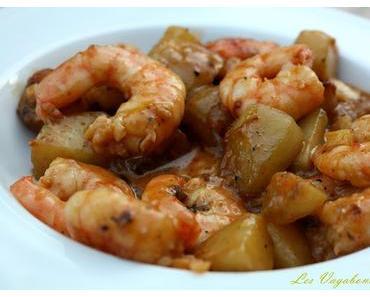 Crevettes et pommes de terre au saté