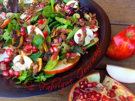 Salade d'Automne Composée: Pomme Champignons Bacon Grenade Vinaigrette Balsamique