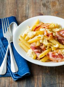 Penne à la pancetta, sauce à la Raclette RichesMonts