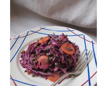 Salade de lentilles, chou rouge et carottes