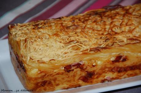 Cake de spaghettis façon carbonara