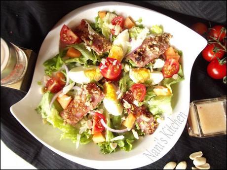 salade jambon pané miel et cacahuètes (1)