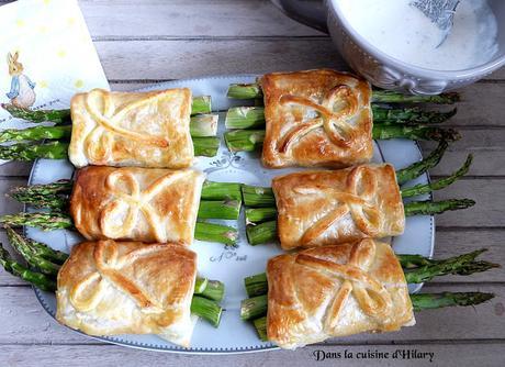 Feuilletés aux asperges vertes, pancetta et parmesan pour Pâques / Asparagus, pancetta and parmesan puff pastry for Easter
