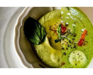 Deux soupes d'été « green » – Gaspacho vert et Velouté de fèves à la menthe