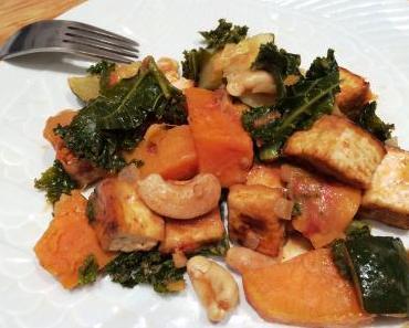 Curry de patates douces, courgettes et chou kale