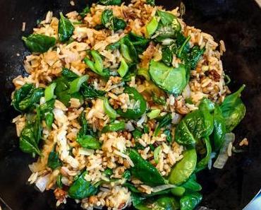 10 minutes – Mon riz sauté du jour : céréales et épinards