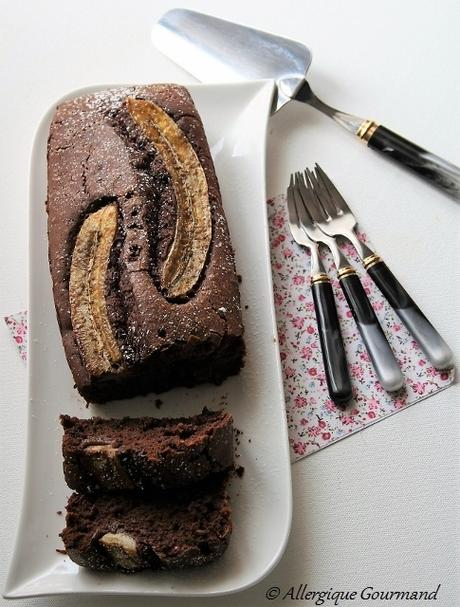 Cake au chocolat et banane, Bio, sans gluten, sans oeufs......