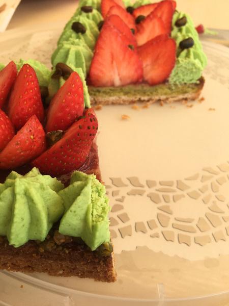 Tarte fraises pistaches d'après Christophe Michalak