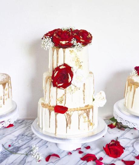 Wedding Cake façon Layer Cake Doré & Rouge