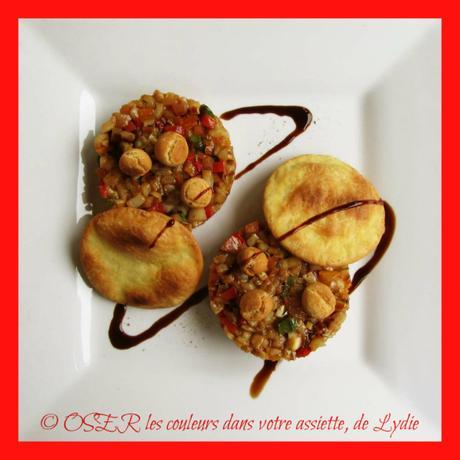 Encornets aux poivrons tricolores en tartare