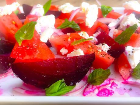 Salade de Pastèque Betterave Rôtie et Fromage de Chèvre