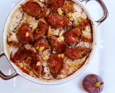 Pain perdu de figues aux pommes et à la cannelle cuit au four