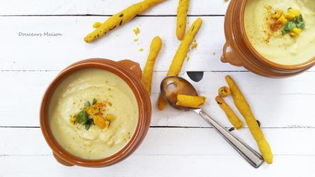 Velouté de Chou-fleur au curry et ses gressins épicés (bataille food#49) dans RECETTES SALÉES sans viande ni poisson soupe-choux-fleur