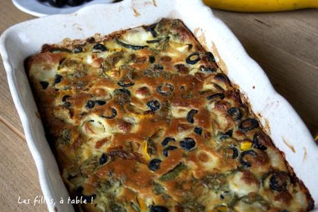 Clafoutis de courgettes au chèvre et aux olives noires