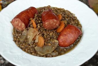 Lentilles et saucisses fum es au cookeo companion ou thermomix - Cuisiner des saucisses fumees ...