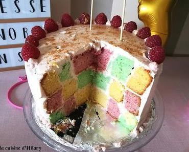 Gâteau damier de princesse (citron, vanille, framboise) / Checkerboard cake for a princess (lemon, vanilla and raspberry)