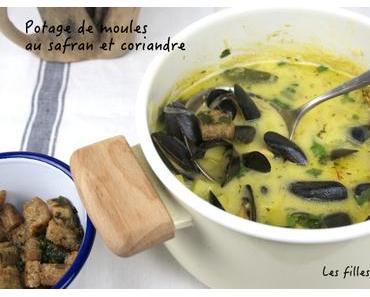 Potage aux moules, safran et coriandre