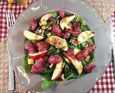 Salade sucrée-salée d'épinards aux gésiers de canard confit / Sweet and savoury spinash and gizzard salad
