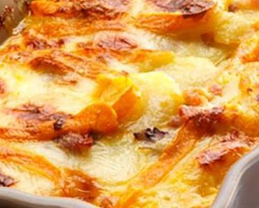 Tartiflette au fromage, raisins secs