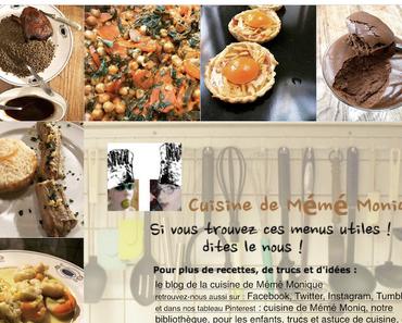 menus du 16 au 22 mars dans la cuisine de mémé Moniq