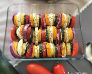Tian de légumes courgettes, tomates, oignons rouges , pommes de terre et mozzarella