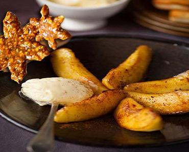Les pommes rôties au miel et nougatine aux noix
