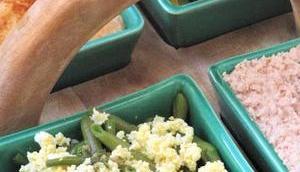 Hors d'oeuvre variés haricots gribiche, houmous tomate confite, poivrons grillés rillettes thon