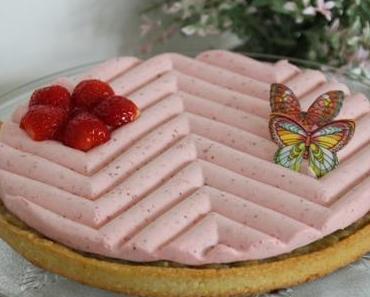 Tarte rhubarbe et mousse à la fraise