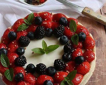 Tarte à la panna cotta romarin, fruits rouges { sans gluten, sans lait, sans œufs }