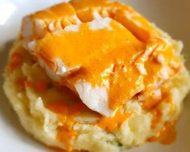 Dos de cabillaud à la crème de chorizo et écrasé de pommes de terre